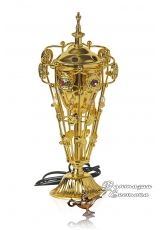 """Бахурница электрическая """"Цветочная"""" золотая 24 см."""