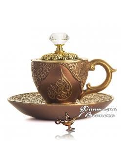 """Бахурница """"Кофейная чашка """" коричневая 10 см"""