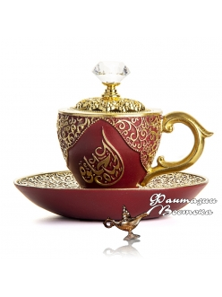 "Бахурница ""Кофейная чашка "" красная 10 см"