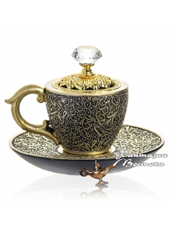 """Бахурница """"Кофейная чашка """" черная 10 см"""