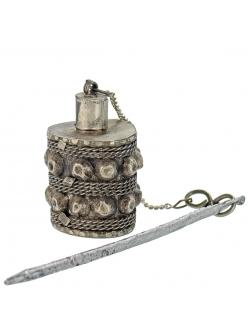 Кохлия старинная 4,5 см. серебряная ручная работа 19 век., Афганистан