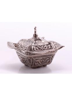 Сахарница с крыжкой в восточном стиле, серебро