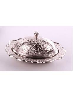Лукумница с крышкой в восточном стиле, серебро
