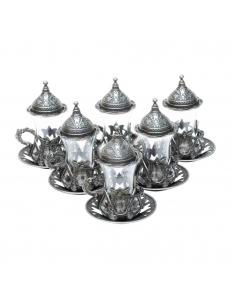 Армуды чайный сервиз в восточном стиле на 6 персон , темное серебро