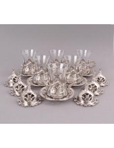 Армуды чайный сервиз в восточном стиле на 6 персон , серебро