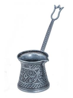 Турка ( джезва ) для кофе по-турецки двуслойная средняя , темное серебро 200 мл