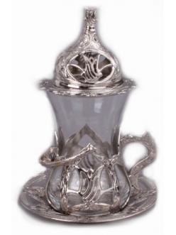 Армуды чайный сервиз в восточном стиле на 1 персону , серебро