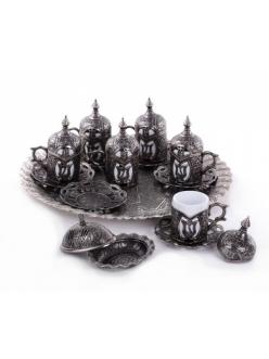 Кофейный сервиз на 6 персон под кофе по - турецки, темное серебро