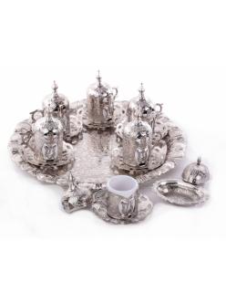 Кофейный сервиз на 6 персон под кофе по - турецки, серебро