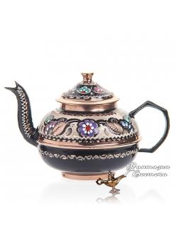 Чайник медный расписной в восточном стиле , ручной работы