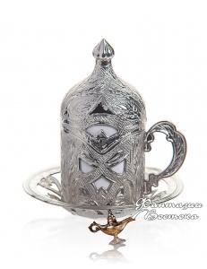 Кофейная пара Демитас  под кофе по-турецки , серебро