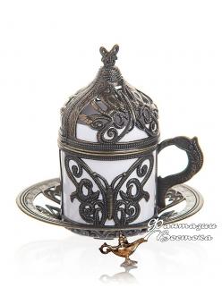 Кофейная пара Демитас  под кофе по-турецки , бронза