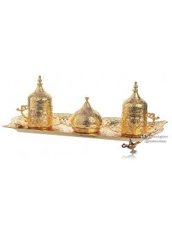 Кофейный сервиз на 2 персоны для кофе по-турецки , золото