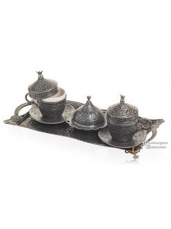 Кофейный сервиз на 2 персоны для кофе по-турецки, темное серебро