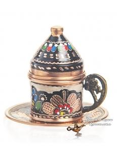 Кофейная пара в восточном стиле ручной работы расписная , медь