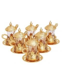 Армуды чайный сервиз в восточном стиле на 6 персон с ложками , золото, Турция