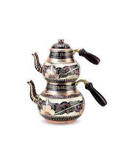 Пара медных чайников в восточном стиле расписные ручная работа , Турция