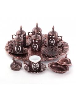 Кофейный сервиз на 6 персон под кофе по - турецки, медь