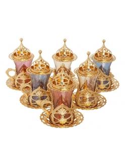 """Армуды чайный сервиз в восточном стиле на 6 персон """"Радуга"""""""