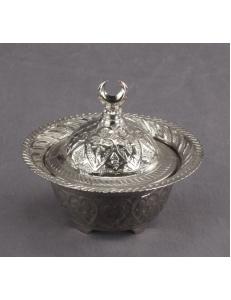 Сахарница с крышкой в восточном стиле, серебро