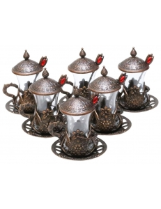 Армуды чайный сервиз в восточном стиле на 6 персон с ложками , медь